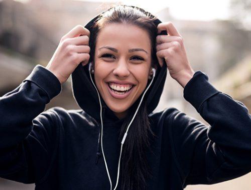 met muziek lopen
